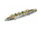 Emerald Bangles - Jewelry Stores - Five Stone Diamond and Emerald Two-tone Gold Accented Bangle