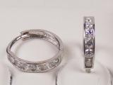 White Gold Hoops Earrings - Jewelry Stores - CZ Huggies Hoop Earrings  approx. 9 mm to 12 mm Diameter