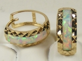 Yellow Gold Hoops Earrings - Jewelry Stores - Opal Huggies Hoop Earrings  approx. 9 mm to 12 mm Diameter