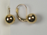 Yellow Gold Hoops Earrings - Jewelry Stores - Ball Hoops Earrings Lever Back