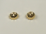 Yellow Gold Studs - Jewelry Stores - Yellow Grooved Half Cut Ball Studs Back Post