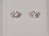 Yellow Gold Studs - Jewelry Stores - Trilliant CZ Studs Back Post