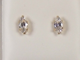 Yellow Gold Studs - Jewelry Stores - Marquise CZ Studs Back Post