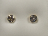 Yellow Gold Studs - Jewelry Stores - Round CZ Studs Back Post