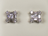 White Gold Studs - Jewelry Stores - Square Setting CZ Studs Back Post